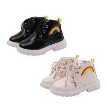 Winter Children Baby Girls Boys Boots Casual Leather Rainbow