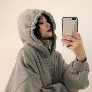 Image 5 - Capuche, vestes à capuche femmes, avec lettres brodées, en velours, épais à manches longues, sweat à capuche pour femme Harajuku, Style coréen, tendance Chic