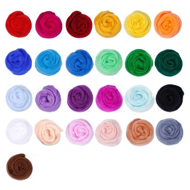 25 bandes de laine de couleur feutre de laine paquet de matériel 50 couleurs 5 G aiguille de bricolage manuelle feutre feutre humide