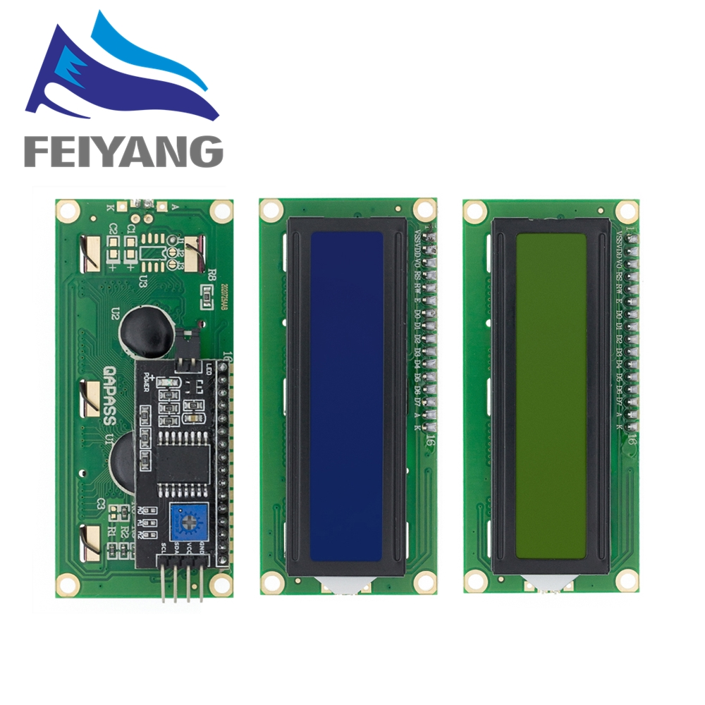 ЖК-дисплей 1602 1602 Модуль ЖКД синий/желто-зеленый экран 16x 2-символьный жк-дисплей PCF8574T PCF8574 IIC I2C интерфейс 5V для arduino