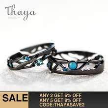 Thaya CZ Milky Way Black Rings Blue Bright Cubic Zirconia Rings 925 Silver Jewelry for Women Lover Vintage Bohemian Retro Gift(China)