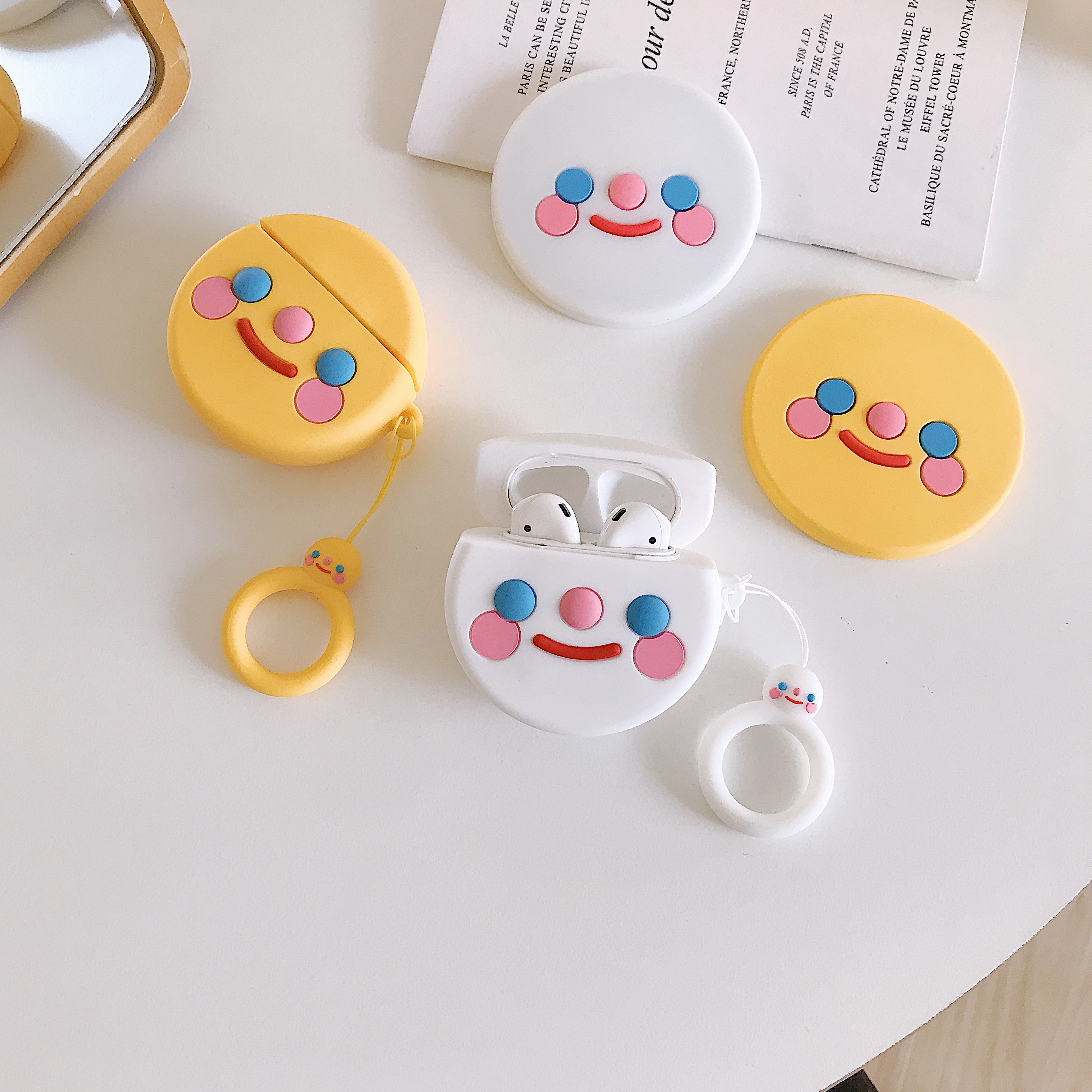 3D Cute Earphone Case for Airpods Case Soft Silicone smile-face Headphone Protective Cover for Apple Airpods For Earpods Case