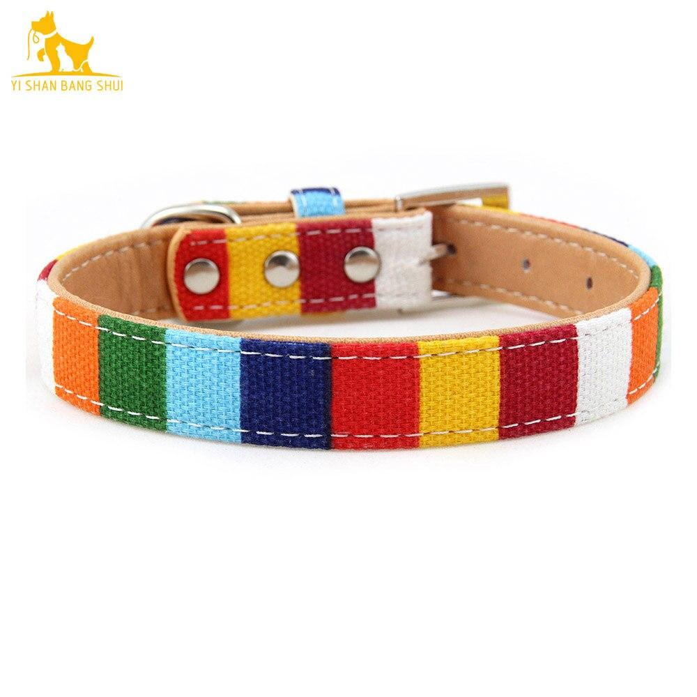Цветной кожаный ошейник для собак в полоску, мягкий ошейник для щенка, ремни для маленького, среднего и большого цветов
