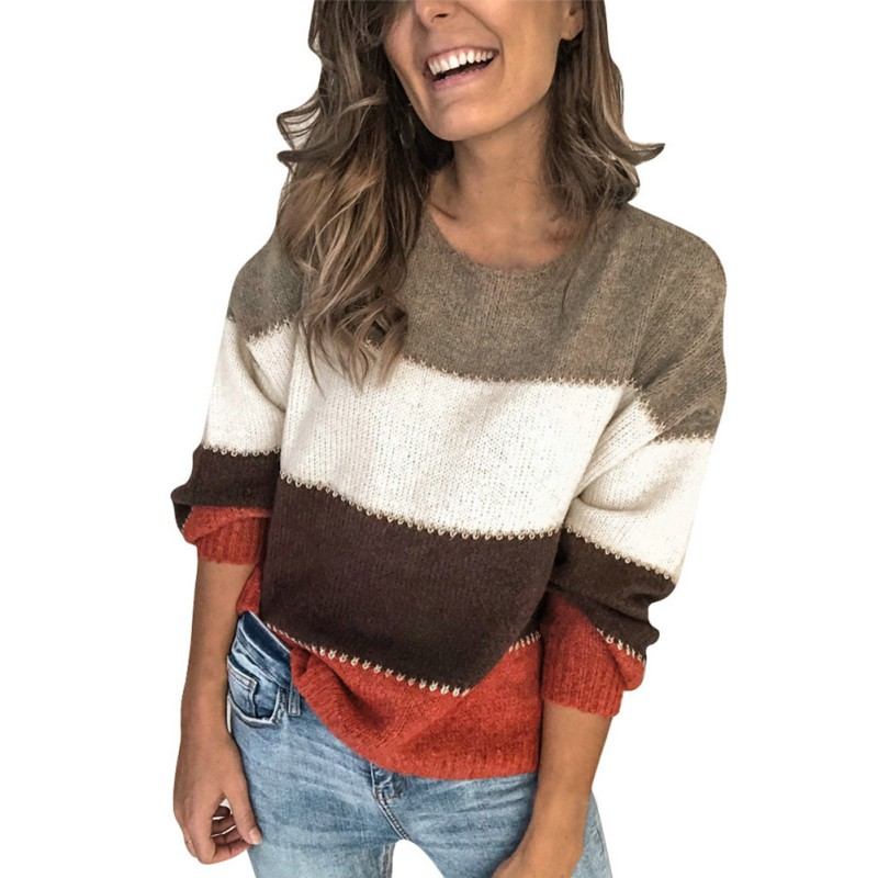 Casual Oversized Striped Sweater Women Autumn 2019 Long Sleeve Loose Pullover Winter Knitted Ladies Jumper