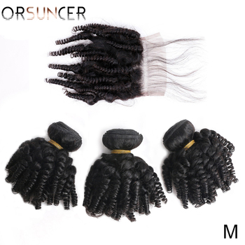 ORSUNCER Peruvian Afro Funmi Human Hair Bundles with Closure DHL Free Shipping Bouncy Curly Non-Remy Human Hair Medium Ratio top quality funmi hair for uk nigeria bouncy aunty romance curl human weaves 3bundles lot free shipping by dhl