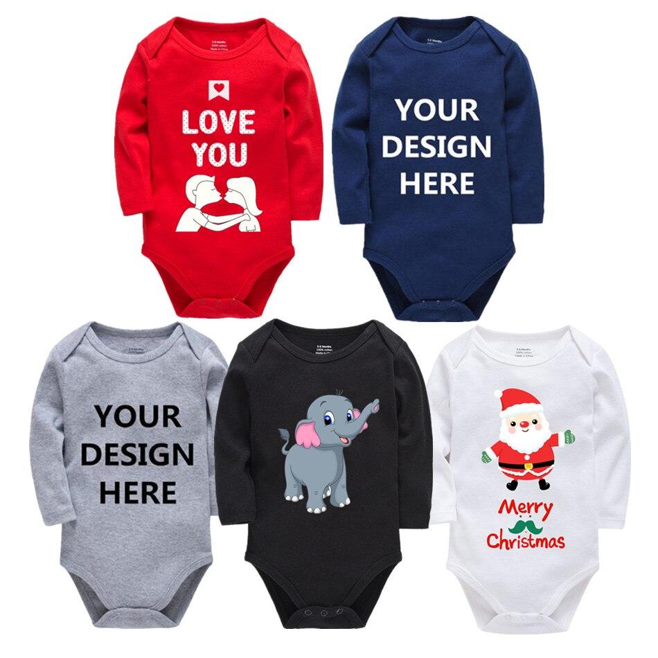 Personalizado impresso uma peça outfits algodão recém-nascido menino menina 0-24 meses branco corpo bebes blanco roupa menina natal bebê jumper