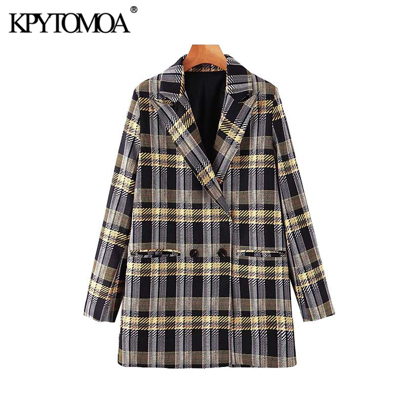 Vintage Stylish Double Breasted Plaid Blazer Coat Women 2019 Fashion Notched Collar Long Sleeve Office Wear Outerwear Chic Tops