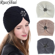 1 pc Fashion Warm Winter Autumn Women Girls Bohemian Style knitted Cap Hair Accessories Turban Solid Color Muslim hat Headwear