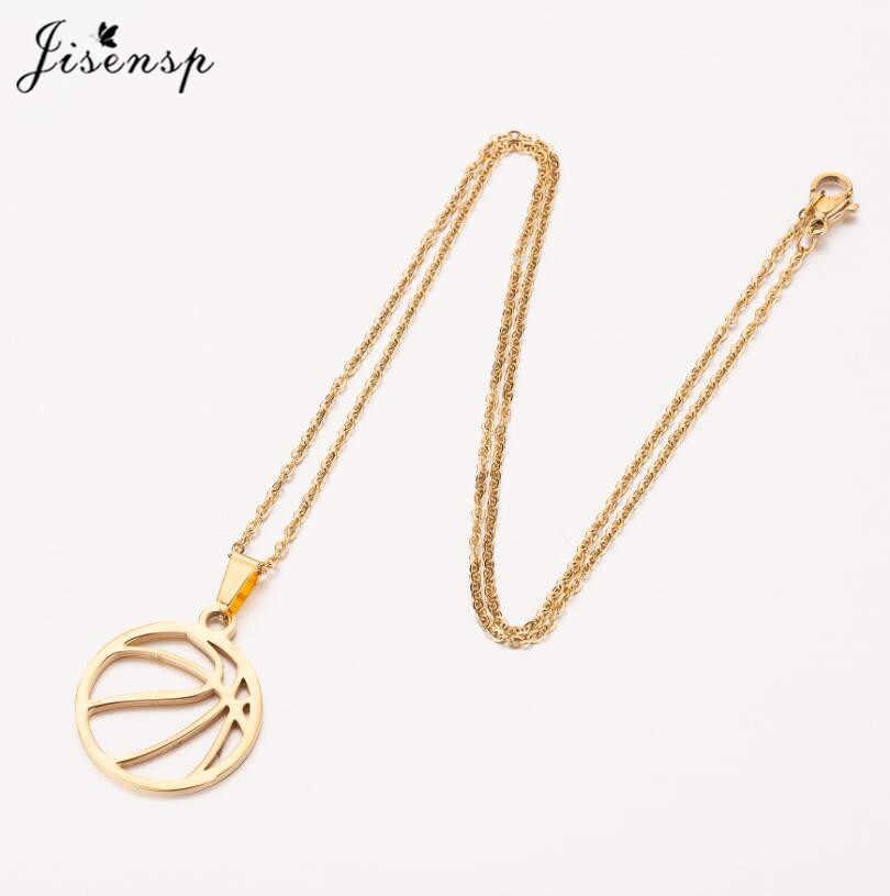 Jisensp Simple diseño deportivo baloncesto colgante collar Acero inoxidable cadena larga Collar para Mujeres Hombres fiesta regalo bijoux