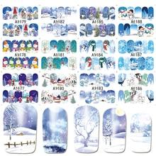 12 デザイン 1 セット冬の雪の結晶フルラップネイルアート水転写ステッカークリスマススタイルマニキュアデカール DIY BEA1177 1188