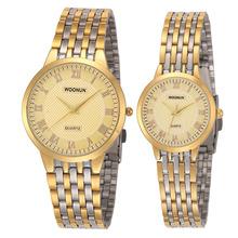 Luksusowe zegarki dla par złote zegarki kobiety mężczyźni stali nierdzewnej kwarcowy analogowy zegarki zegarki na rękę męskie i damskie miłośników zegarki tanie tanio WOONUN Moda casual QUARTZ STAINLESS STEEL 3Bar CN (pochodzenie) Bransoletka zapięcie Hardlex 088031 24cm Nie pakiet 38mm