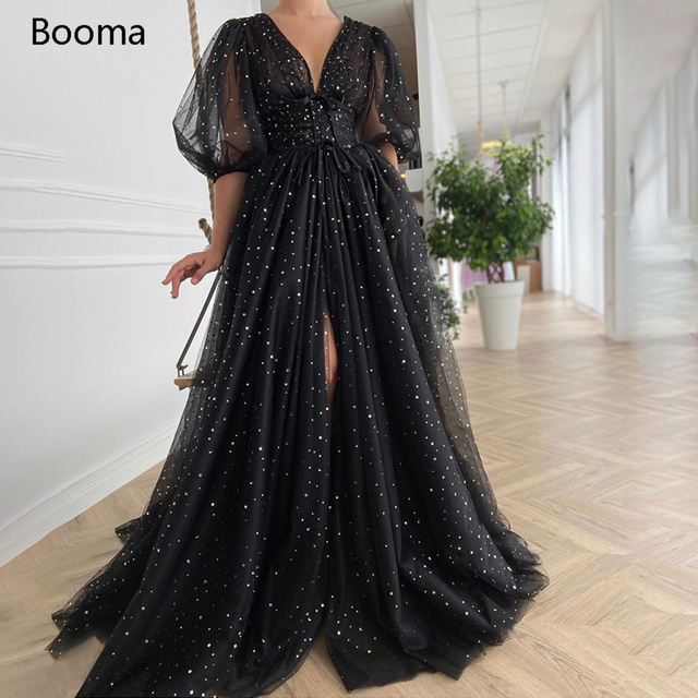 Booma Black Starry Tulle Prom Dresses Sparkly V-Neck Half Puff Sleeves Ruched Wedding Party Dresses Slits Long A-Line Prom Gowns 1