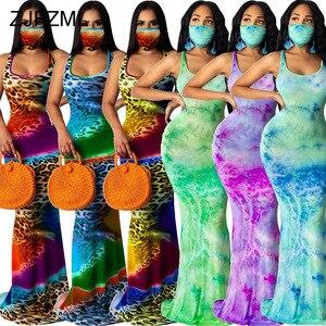 Женское длинное платье-Русалка с леопардовым принтом, винтажное пляжное платье без рукавов с высокой талией и открытой спиной, без маски