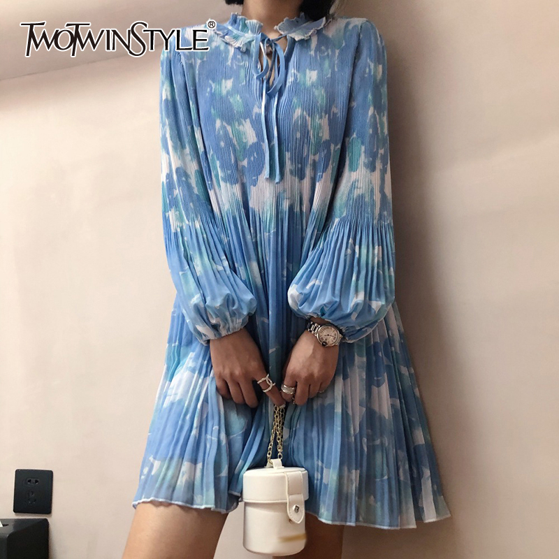 TWOTWINSTYLE Casual Pleated Print Dresses For Female O Neck Lantern Long Sleeve High Waist Hit Color Mini Summer Dress Women New