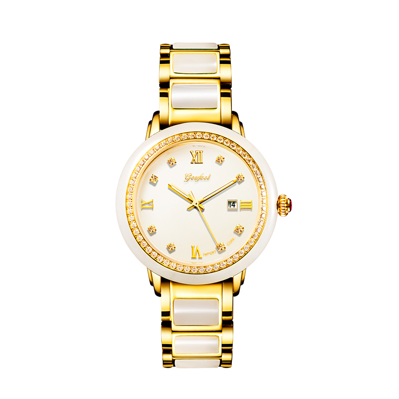 Jade Mechanical Watch Ladies Watches Luxury Watch with Calendar Display Waterproof Butterfly Buckle Leather Gift Box Reloj Mujer
