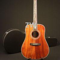 41in D Shape High Quality Handmade Electric Acoustic Guitar Full Koa Abalone Inlay Bone Nut&Saddles Fishman 101