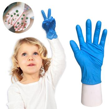 20 sztuk pudło uniwersalne dziecięce niebieskie jednorazowe rękawice lateksowe nitrylowe ochronne rękawice ochronne dla dzieci lewe i prawe ręce tanie i dobre opinie CN (pochodzenie) 100-140g Dispossable gloves Średni Nitrile CZYSZCZENIE NEOPRENE
