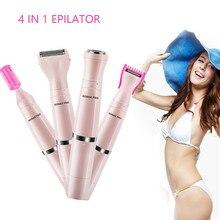 4 в 1 Эпилятор водонепроницаемый триммер женский электрический триммер для волос на теле триммер для бровей безболезненный USB зарядка для удаления волос Женская бритва