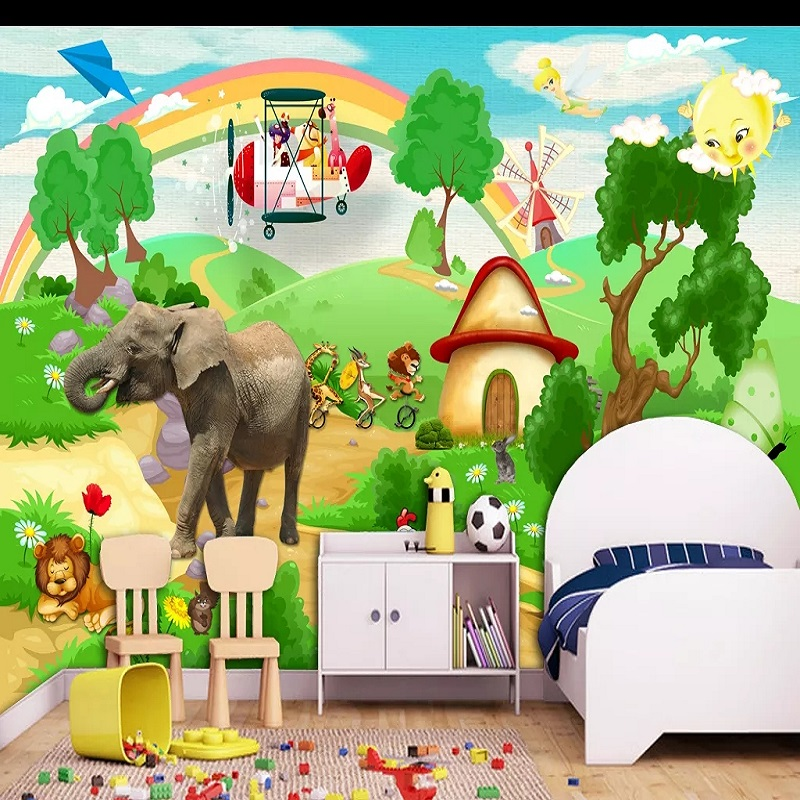 New Custom Large Mural 3D Wallpaper Cartoon Fairy Tale World Tree Child Bedroom Mural TV Back Wall Decor Deep 5D Embossed