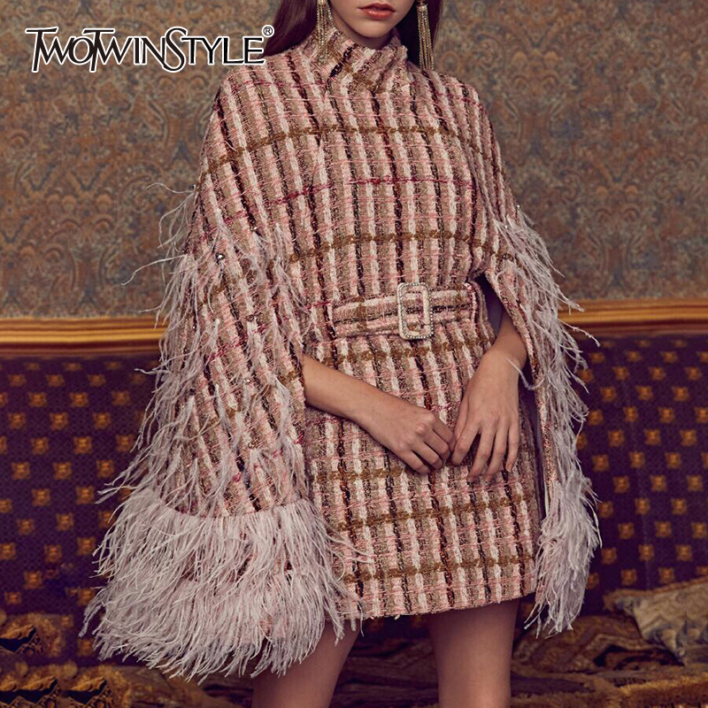 TWOTWINSTYLE Patchwork Feathers Diamonds Plaid Women's Coats Turtleneck Cloak Sleeve High Waist With Sashes 2020 Fashion Clothes