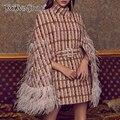 TWOTWINSTYLE Patchwork Federn Diamanten Plaid frauen Mäntel Rollkragen Mantel Hülse Hohe Taille Mit Schärpen 2020 Mode Kleidung