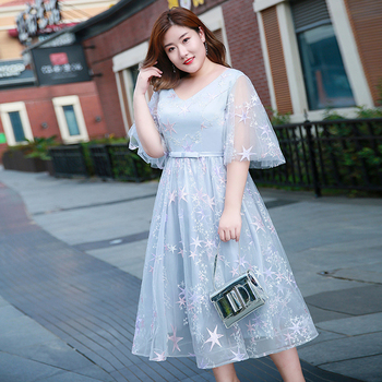 Plus Size Homecoming Evening Dress Duble V-neck Lace Prom Dress Embroidery Tulle A-line Women Party Dresses Short-sleeve Gowns plus size short sleeve lace shift dress