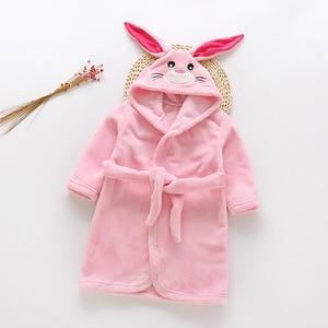 Image 4 - Automne hiver vêtement de nuit pour enfants Robe flanelle à capuche peignoir chaud enfants pyjamas pour garçons et filles belle bande dessinée animaux Robes