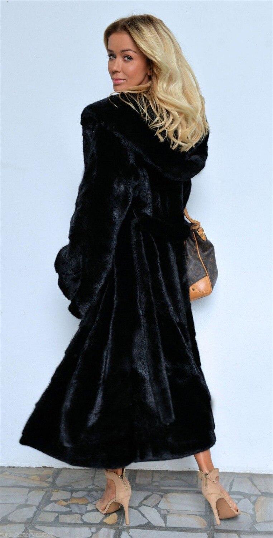 Image 5 - Black Hooded Faux Fur Coat Winter Women Long Faux Fox Fur Jacket  2018 Fashion Plus Size Coats Elegant Lady Warm Jackets Y27Faux Fur   -