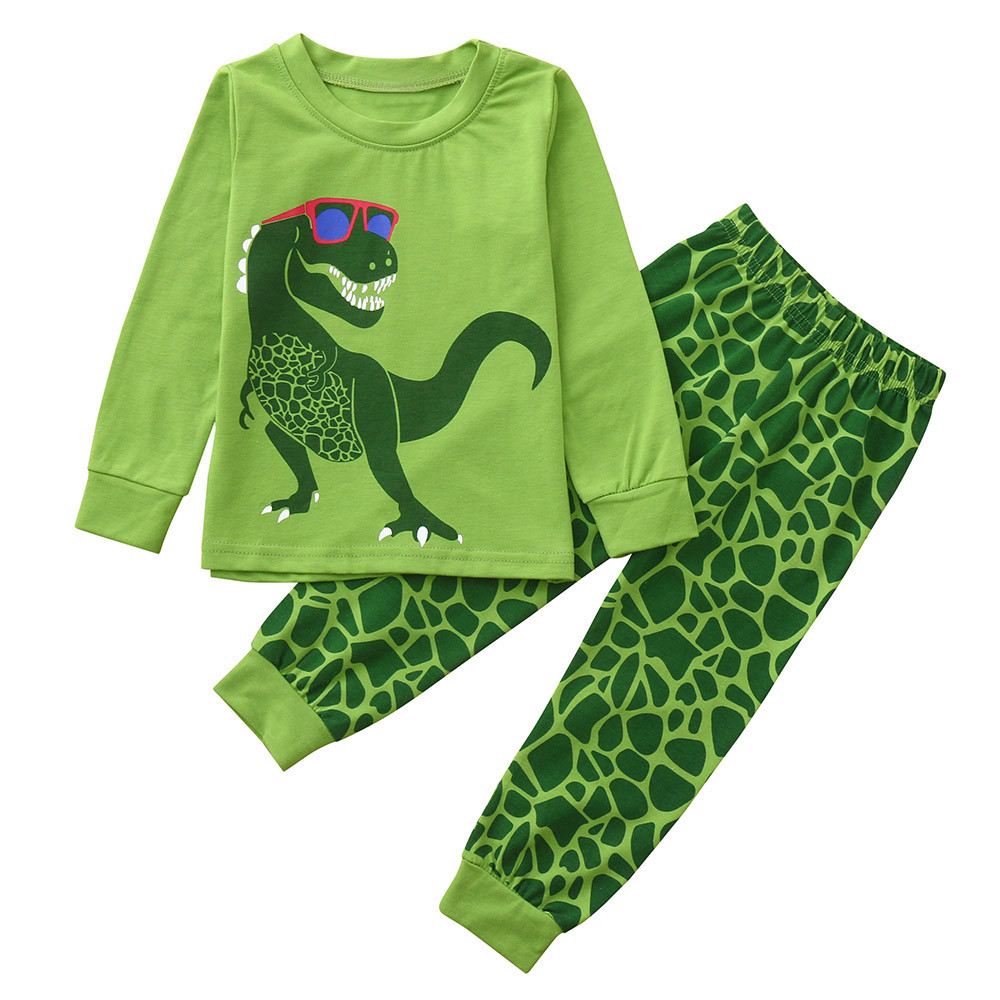 2Piece Toddler Baby Boy Dinosaur Cartoon Pajamas Set Long Sleeve Print Top Pant Fashion Sleepwear Clothes 18M-7Y