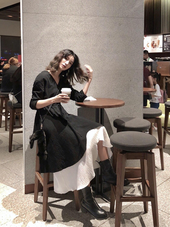 MIKASTUDIO jade sauce robe noire automne 2019 nouvelle vénus rouge style occidental costumes petite robe noire