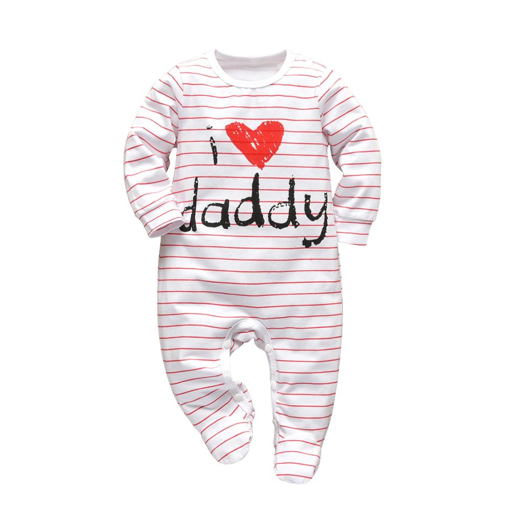 Newborn Baby Boys Girls Rompers Pajama Cotton Cute Letter I Love Daddy and Mummy Long Sleeve Jumpsuit Infant Toddler Clothes | Happy Baby Mama