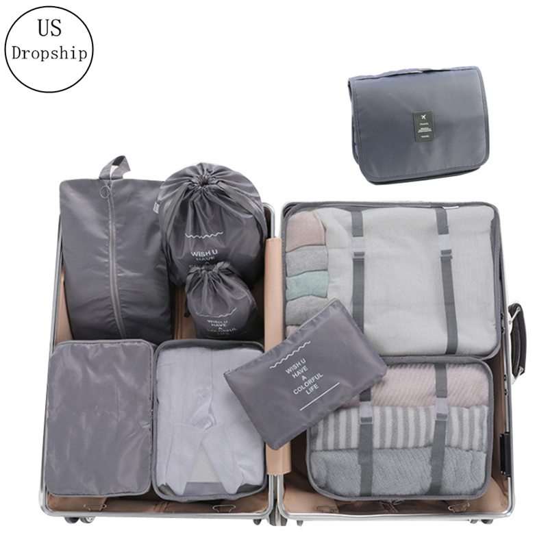High Quality 9Pcs/set Suitcase Organize Storage Bag Portable Cosmetic Bag Clothes Underwear Shoes Packing Set Travel Makeup Bag