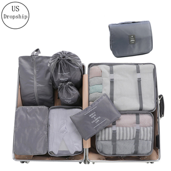 High Quality 9Pcs/set Suitcase Organize Storage Bag Portable Cosmetic Bag Clothes Underwear Shoes Packing Set Travel Makeup Bag italian design purple shoes and bag sets women shoes and bag set med heel african matching shoes and bag set decorated mm1046