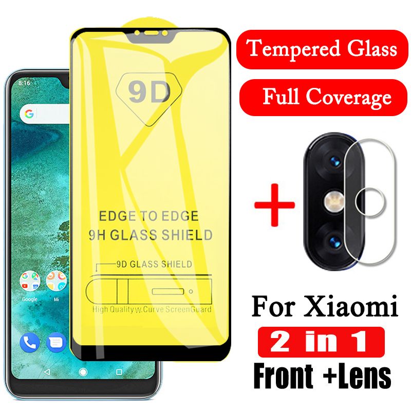 <font><b>2</b></font> in1 9D Camera Tempered Glass for <font><b>Xiaomi</b></font> <font><b>Mi</b></font> A2 A3 Lite Mi8 Mi8 Lite Mi9 <font><b>Mi</b></font> 9se Lite <font><b>Screen</b></font> <font><b>Protector</b></font> Lens Film Protective Glass image