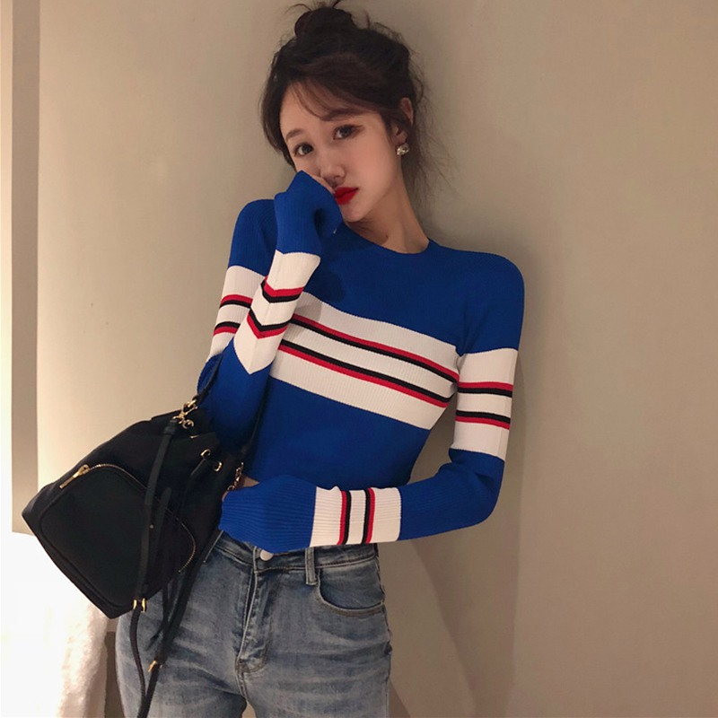 Autumn Winter Striped Sweater Women Knitted High Elastic Jumper Women Sweaters Pullovers Striped Female Ladies Tops
