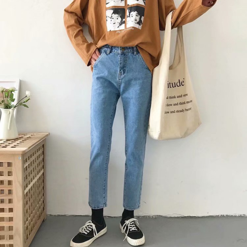 Jeans Mujer 2019 Korean Style Solid Color Women's Straight Jeans Autumn New Loose Harem Pants High Waist Jeans
