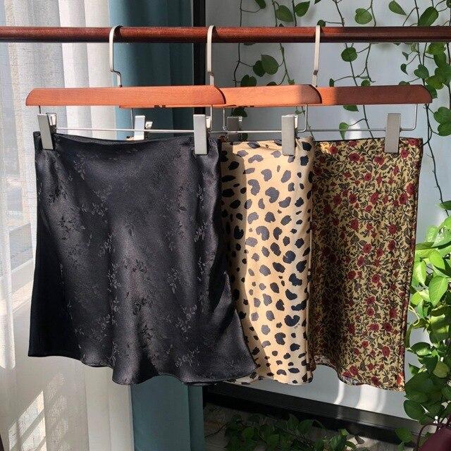 Women Silk Satin The Naomi Wild Things Leopard Print Sexy Elastic High Waist Easy 90's Slip Midi Skirt 5