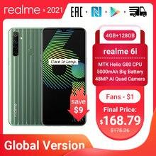 Verdadero yo 6i 6 глобальная Версия Мобильный телефон 4 Гб RAM 128 ГБ ROM enchufe de la UE MTK Helio G80 5000 мАч gota de rocío 6,5