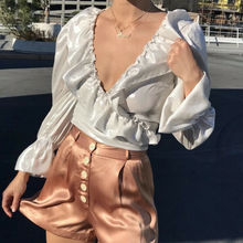 Goocheer Women's Glossy Chiffon V-Neck Ruffle Long Sleeve Blouse Tops Casual Crop Top Shirt ruffle trim tied neck blouse