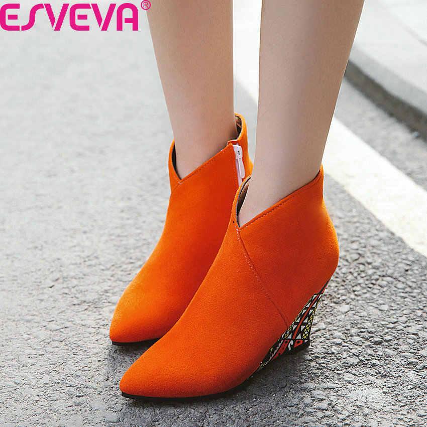 ESVEVA 2020 akın yenilik kama yüksek topuk rahat yarım çizmeler sonbahar kış fermuar moda sivri burun kadın ayakkabı büyük boy 34 -43