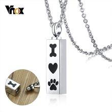 Vnox pendentif creux pour hommes femmes collier mignon patte os coeur acier inoxydable urne pour animaux cendres crémation souvenir bijoux