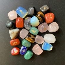 Mix spadł kamienie luzem Viking runy kamienie zestaw Assorted Nordic runy kamieni Amulet 25 sztuk zestaw tanie tanio Litery Europa Kryształ Mixed crystal Multi 25 pcs set 1pc About 14-20mm