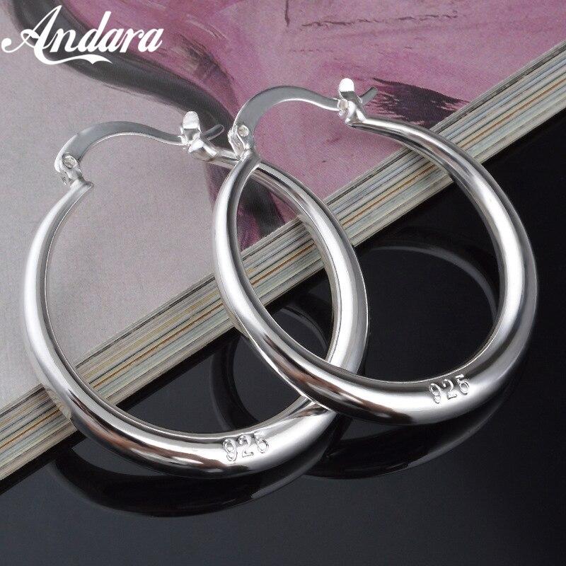 Toptan moda takı gümüş 925 küpe, 5MM pürüzsüz daire yuvarlak küpe kadınlar için en iyi hediye