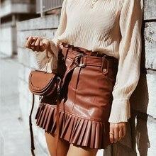 2020 Spring Pu Leather Skirts High Waist Pleated Hem Mini Skirts Belt Waist Ladies Faldas