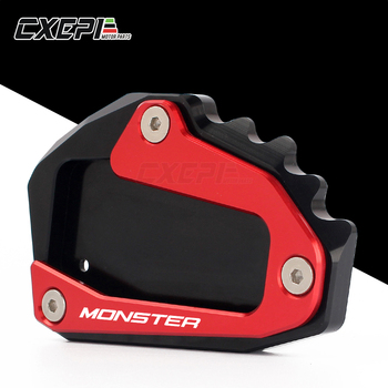 NEW LOGO MONSTER For DUCATI Monster 696 795 797 821 monster CNC Motorcycle Kickstand Foot Side Stand Extension Pad Support Plate motorcycle front brake clutch fluid reservoir cover for ducati monster 696 monster 795 monster 796