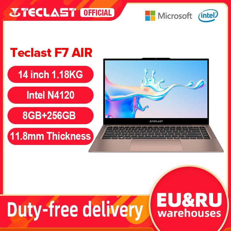 Ультратонкий ноутбук Teclast F7 Air, 14 дюймов, Intel N4120 8 Гб LPDDR4 256 Гб SSD, ноутбук 1920x1080 FHD, компьютер Windows 10, 1,18 кг, 180 °