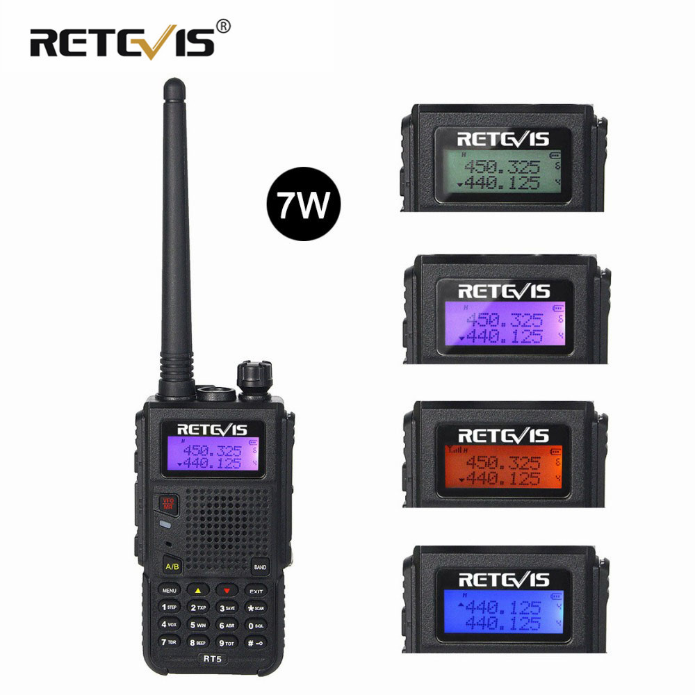 Retevis RT5 Walkie Talkie 7W 128CH VHF UHF Dual Band VOX FM Radio Scanner Amateur Cb Radio Station Communicator Transceiver