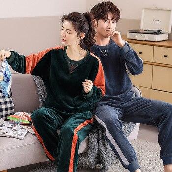 Plus size 3XL men pajamas Winter Flannel Pajama Set Coral fleece Thick casual couple Homewear warm sleepwear male pijama mujer