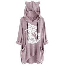 Lovely Women Casual Print Cat Ear Hoodies Ladies Hooded Long Sleeves Pocket Irregular Top Sweatshirts sudadera mujer NEW 4.2