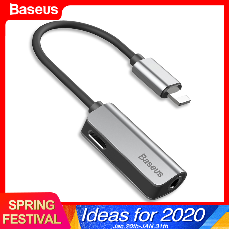 Baseus Aux Audio <font><b>For</b></font> Lightning to 3.5mm Jack <font><b>Connector</b></font> Earphone <font><b>Headphone</b></font> OTG Adapter <font><b>For</b></font> <font><b>iPhone</b></font> 11 Pro Xs Max Xr <font><b>X</b></font> 8 7 Splitter image